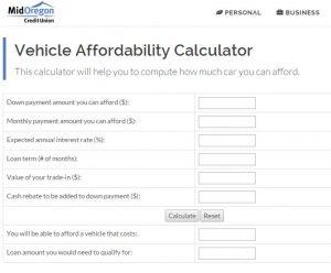 Vehicle Affordability Calculator