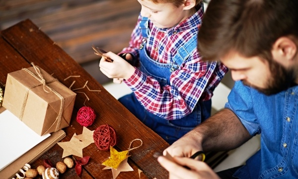 Father & Son Making Christmas Presents- Gear Up for Holiday Giving