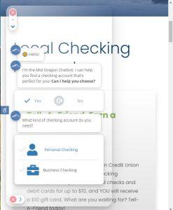 screen shot of Checking Chooser on Mid Oregon website